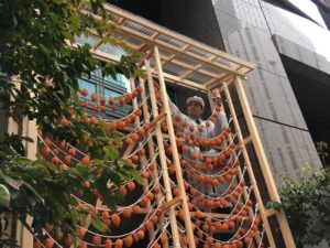 東京・銀座のビル街に吊るされたあんぽ柿
