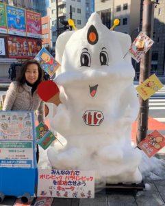 第19回神田小川町雪だるまフェア、コンテスト参加作品「消防キュータ」と