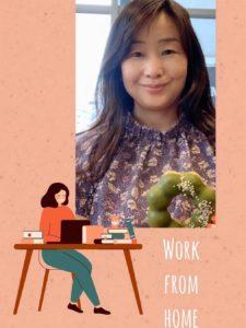 WORK FROM HOME、家で働く女性のイメージイラストと私