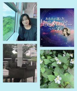 列車内の私、古関裕而のアルバム(あなたが選んだ古関メロディベスト30)のジャケット、古関裕而のモニュメント、どくだみの花、